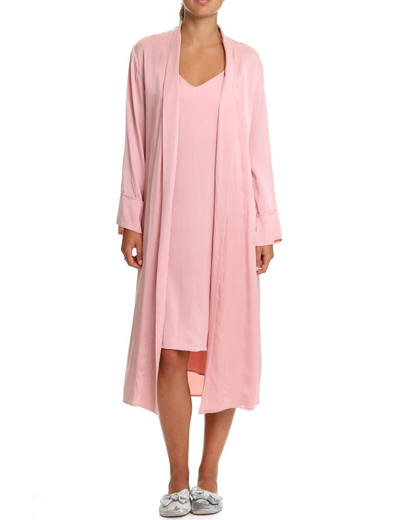 Washable Silk Long Robe in Vintage Pink