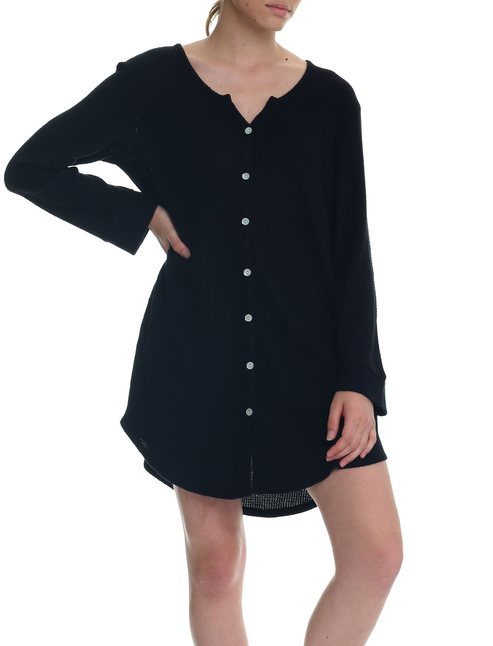 Super Soft Waffle Nightgown in Black