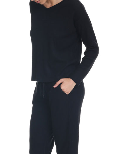 Super Soft Waffle V-Neck Long Sleeve Top in Black