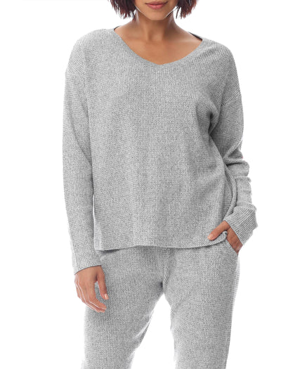 Super Soft Waffle V-Neck Long Sleeve Top in Grey