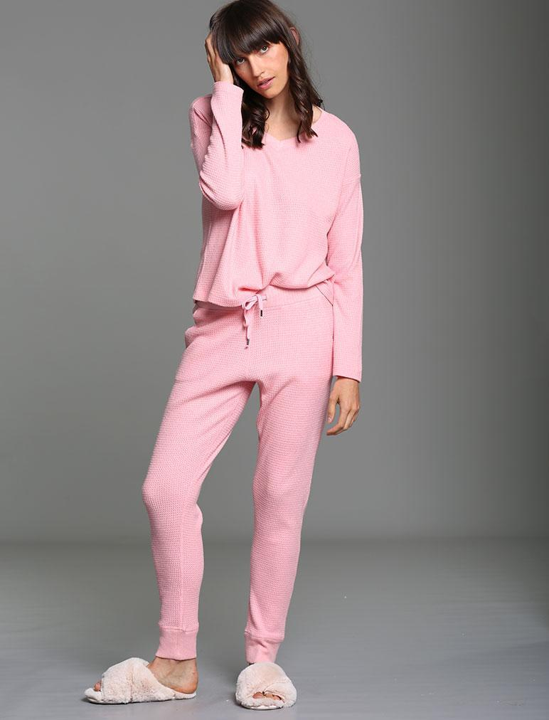 Super Soft Waffle PJ Set in Peony Pink