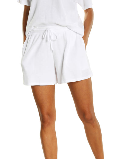Organic Cotton Waffle Relaxed Boxer in White