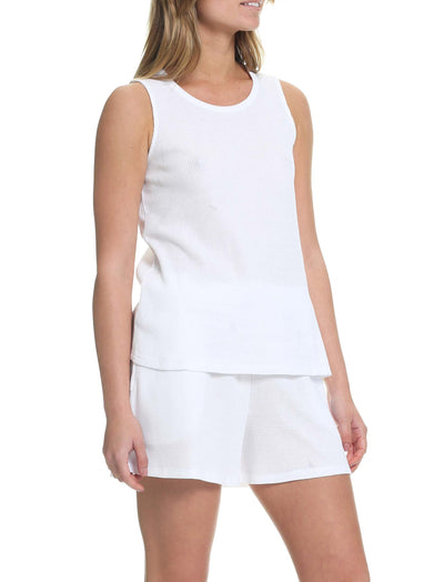 Organic Cotton Waffle Tank in White