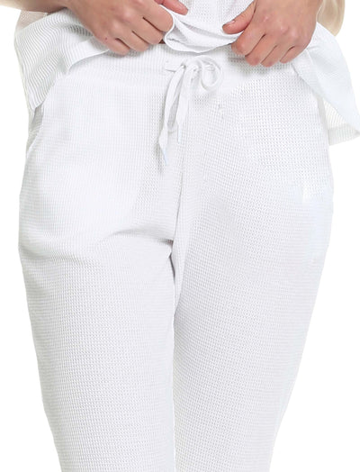 Organic Cotton Waffle Jogger in White