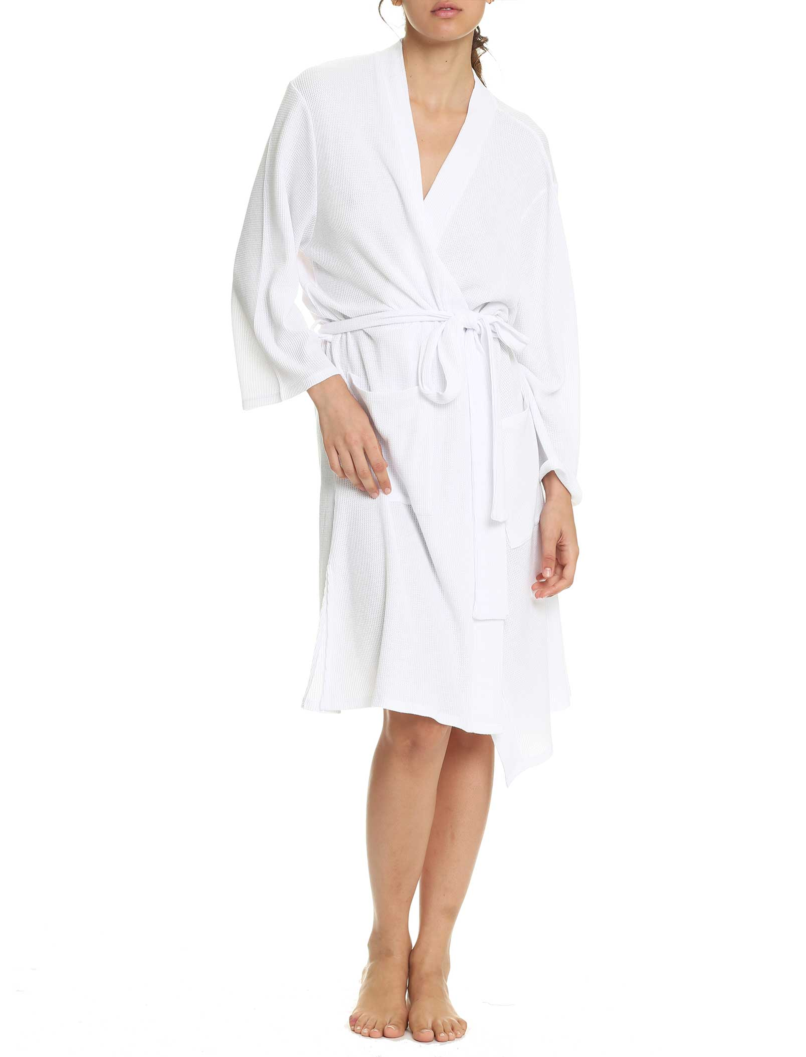 Organic Cotton Waffle Robe in White