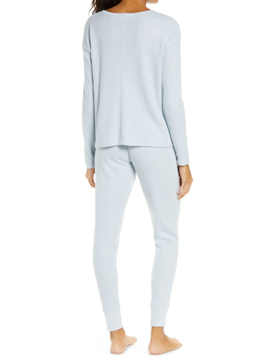 Super Soft Waffle V-Neck Long Sleeve Top in Ice Blue