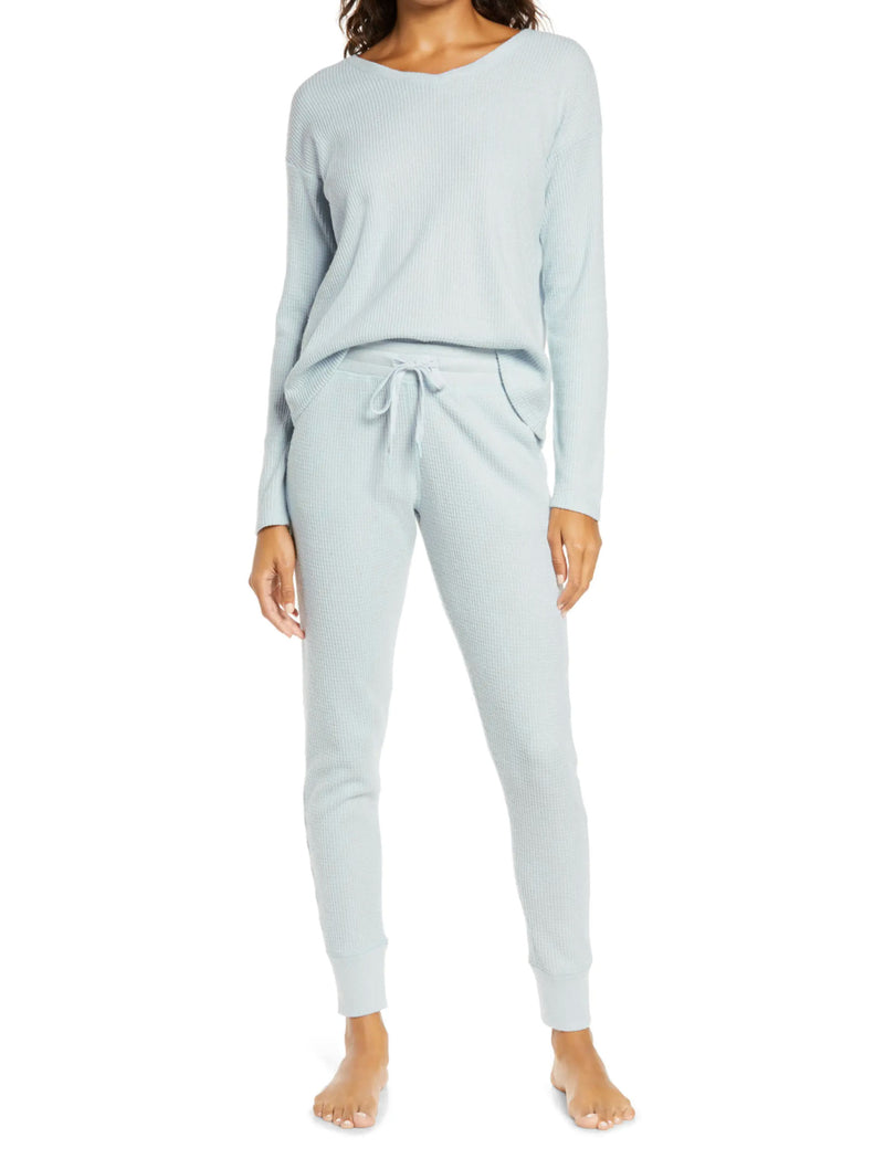 Super Soft Waffle Jogger in Ice Blue