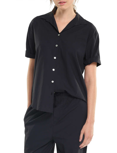 Whale Beach Short Sleeve Shirt in Black