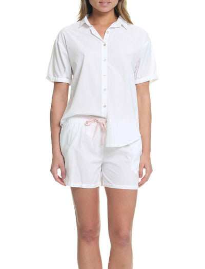Whale Beach Short Sleeve PJ Shirt in White