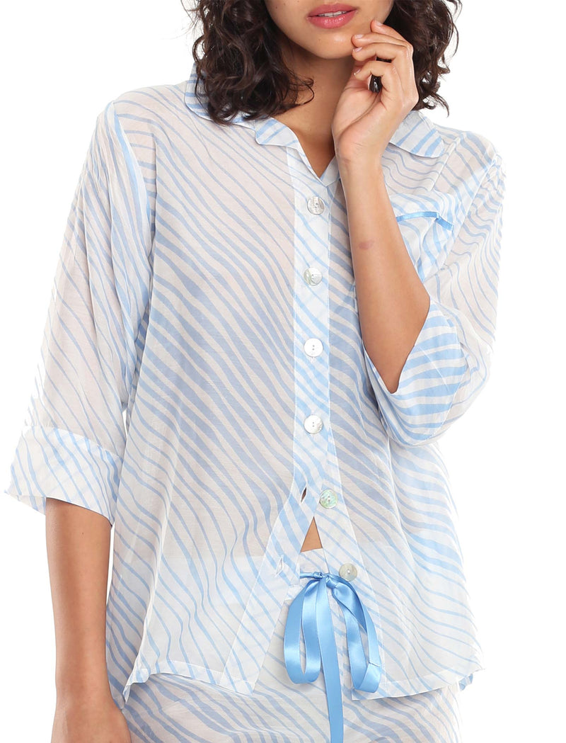 Zebra Blue Crop Pajama