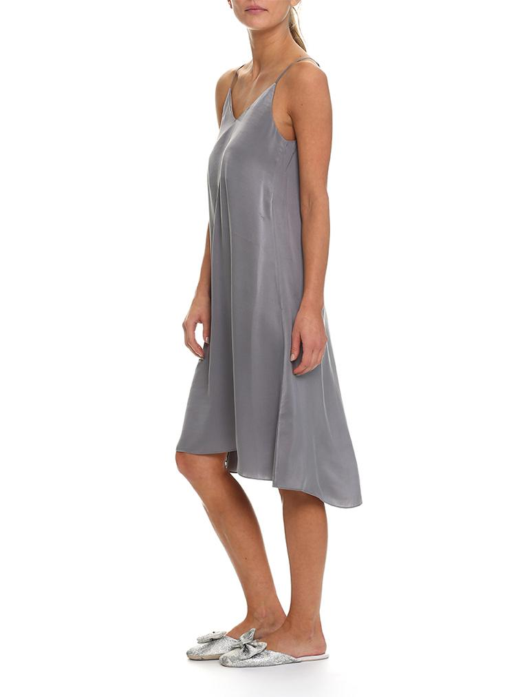 Washable Silk Slip Nightgown in Charcoal