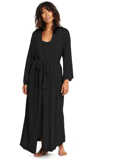 Basic Maxi Knit Robe in Black