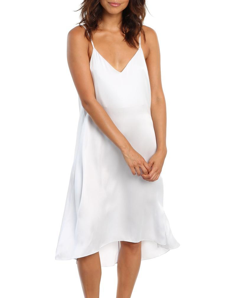 Pure Silk Slip Nightgown in Dove Grey