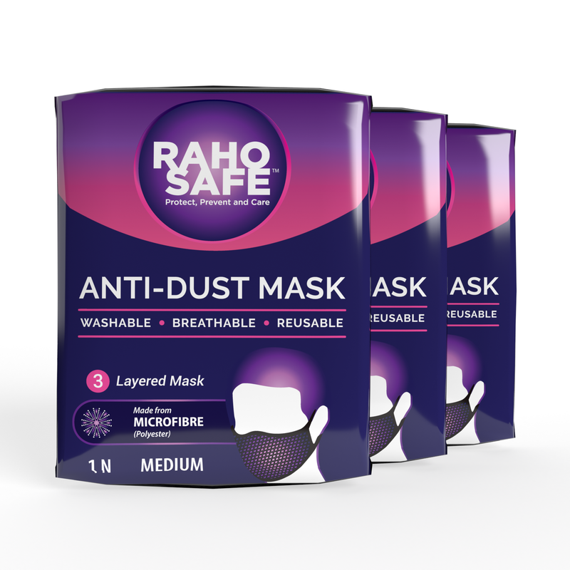 Microfibre 3 Layered Anti-Dust Mask (Pack of 3)