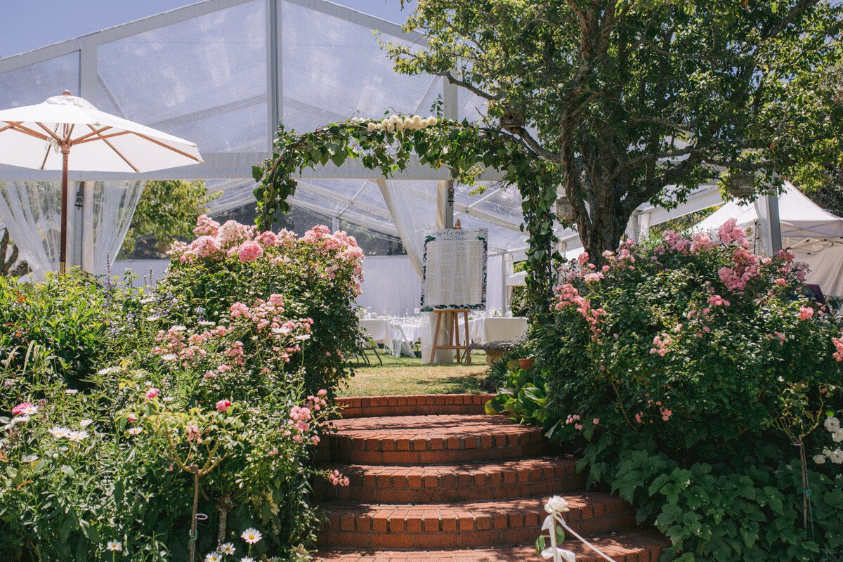A wedding marquee – with a cherry tree!