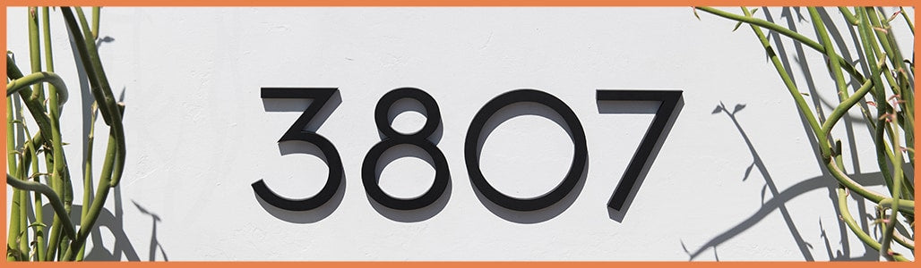 Modern address numbers, letters, plaques and mailbox numbers