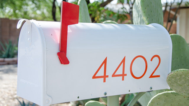 Palm Springs orange mailbox numbers