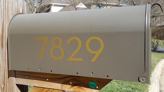 Palm Springs brass mailbox numbers