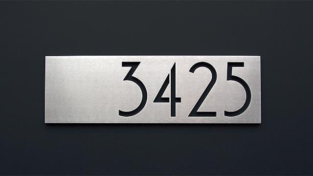"SoCal 3""x 8"" brushed aluminum, centered & right justified"