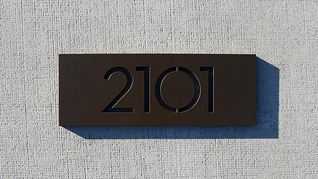 "Palm Springs 4""x11"" plaque, dark bronze powder coat"