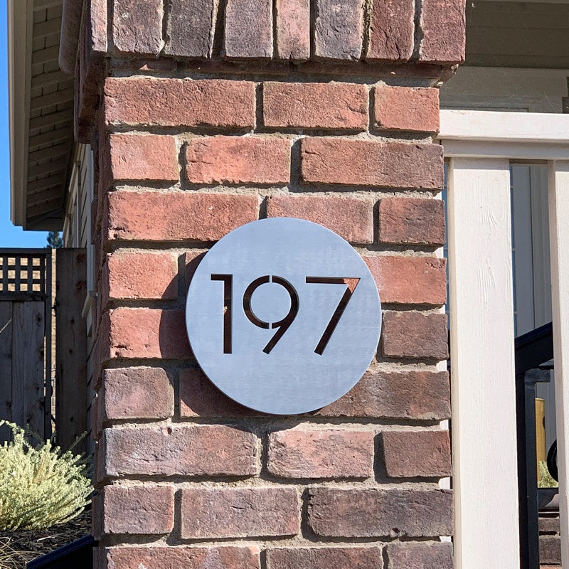 Modern House Plaque Housewarming Gift Laser Engraved Sign Personalized Address Plaque Custom Number Sign Bauhaus Font Numbers