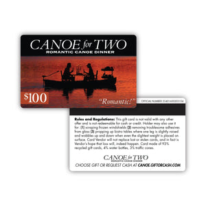 Canoe For Two Gift Card Insert