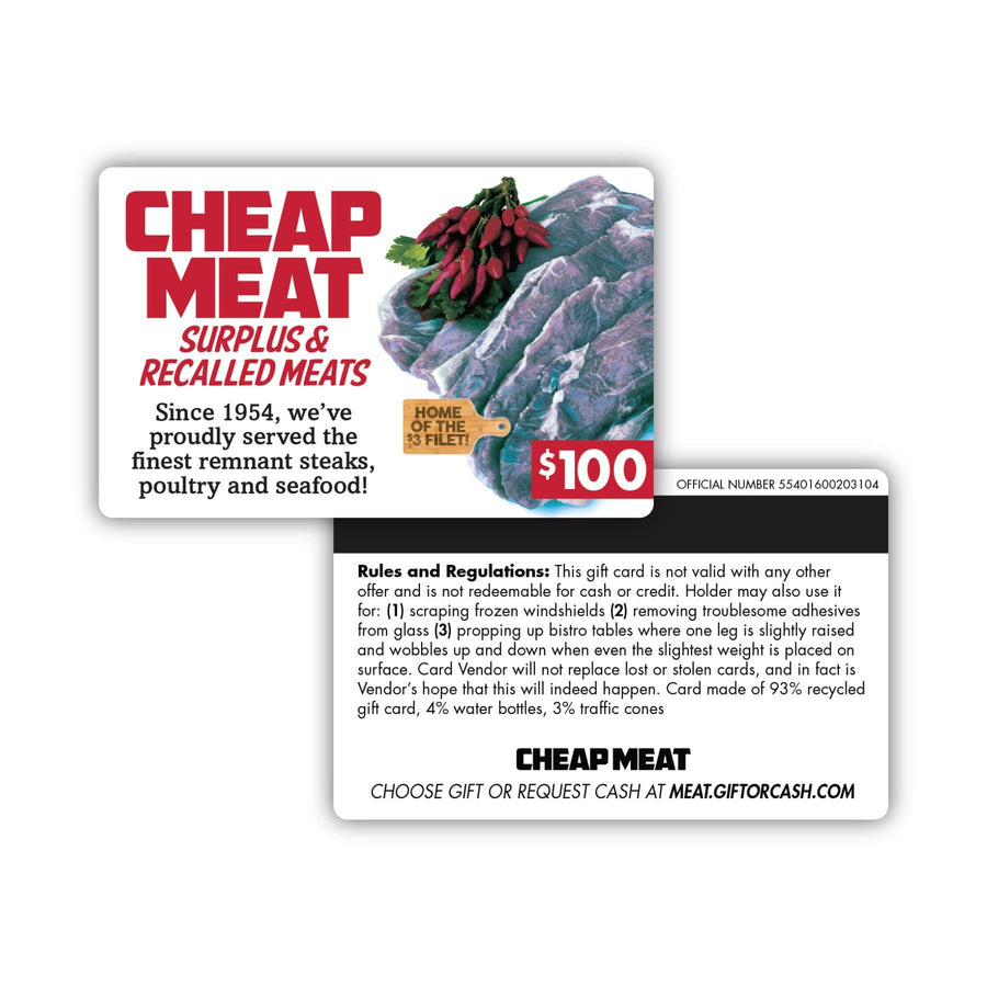 Cheap Meat Gift Card Insert
