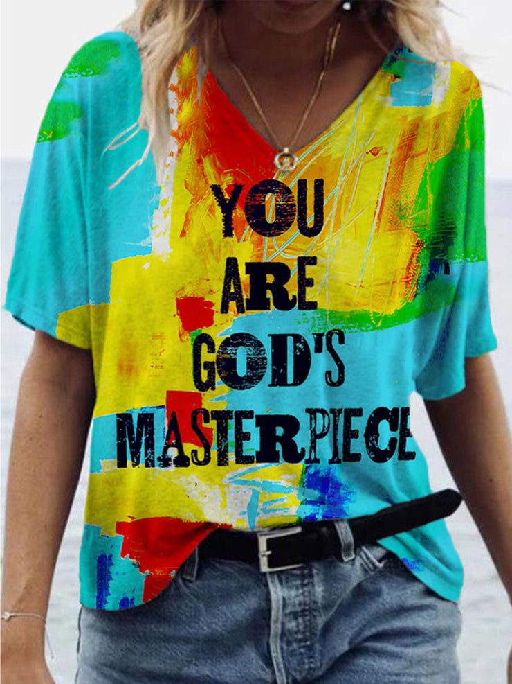 You Are God's Masterpiece Letter Print T-shirt