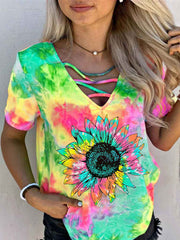 Sunflower Colorful Gradient Print Hollow T-shirt