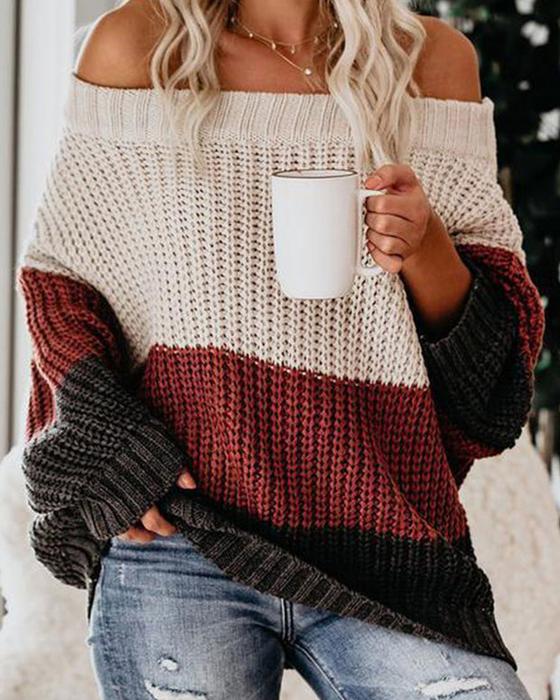 Color Stitching Round Collor Long Sleeve Sweater