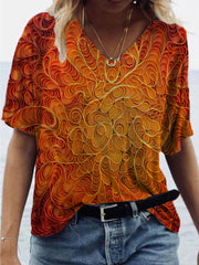 Abstract Frill Painting Print T-shirt