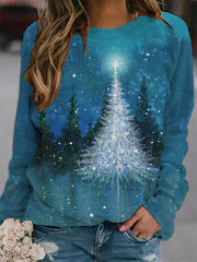 Christmas Tree Painting Print Sweatshirt