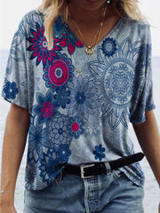 Mandala Folk Flower Print T-shirt