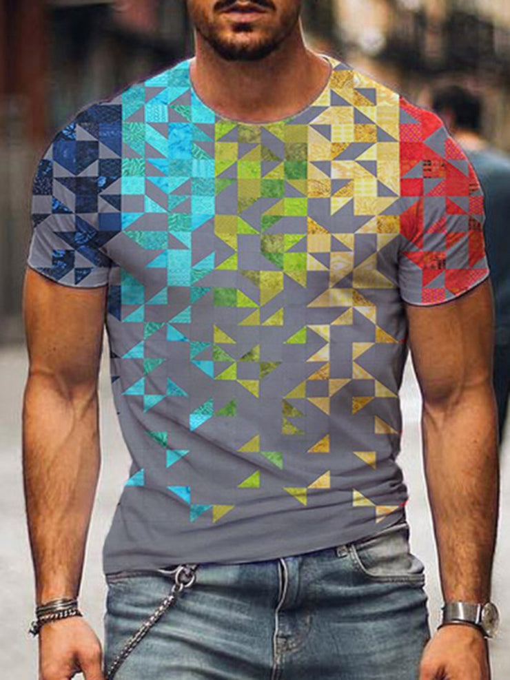 Men's Colorful Geometry Pattern Print T-shirt