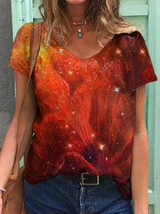 Starry Sky Flower Painting T-shirt