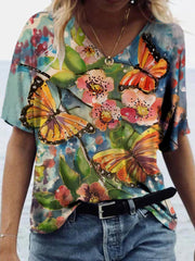 Butterfly Flower Painting Print T-shirt