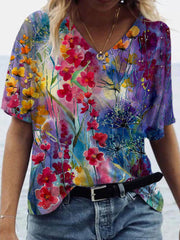 Colorful Flower Painting T-shirt