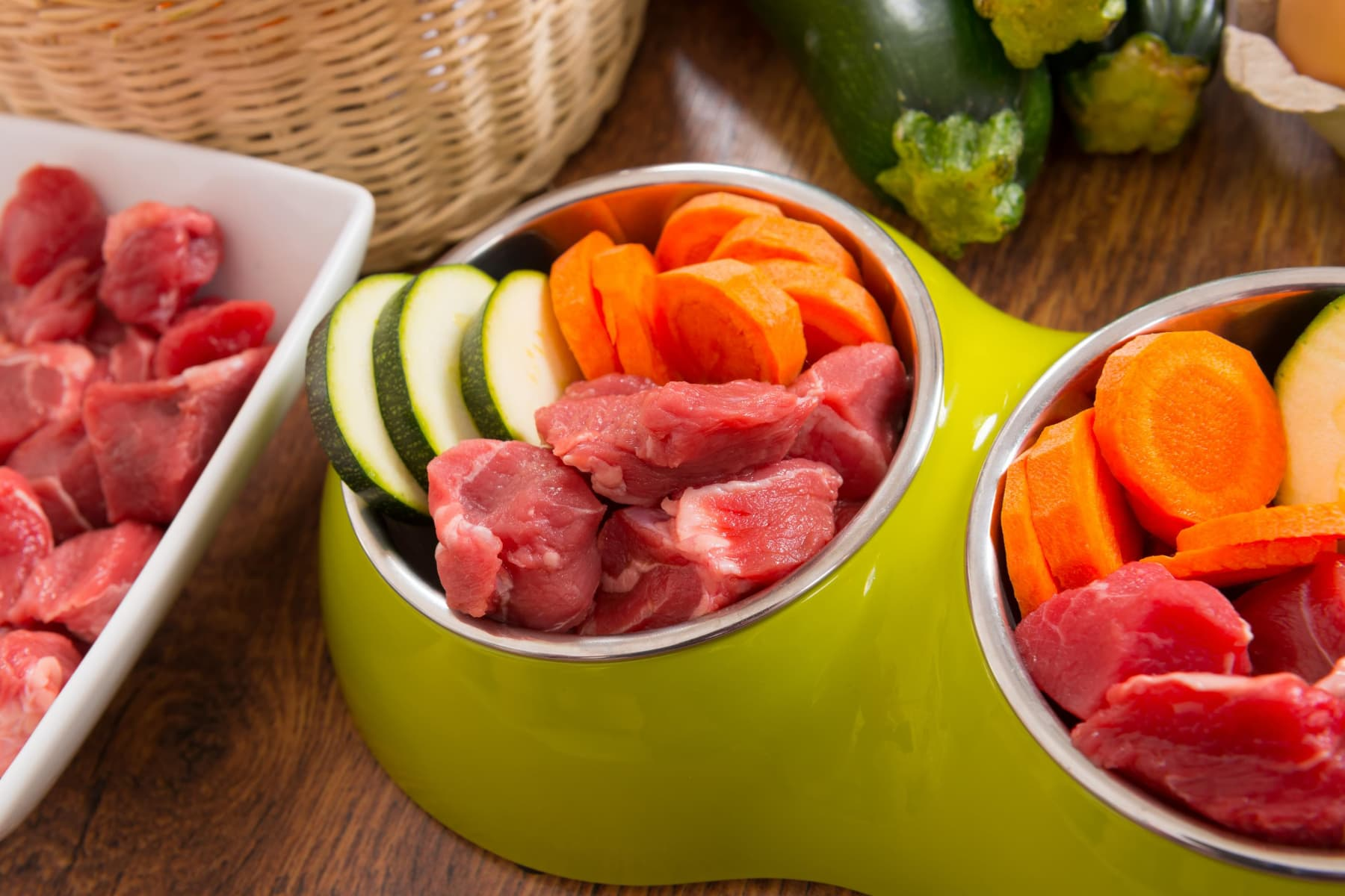 Meat and vegetables in dog bowl Wellbeing for Dogs