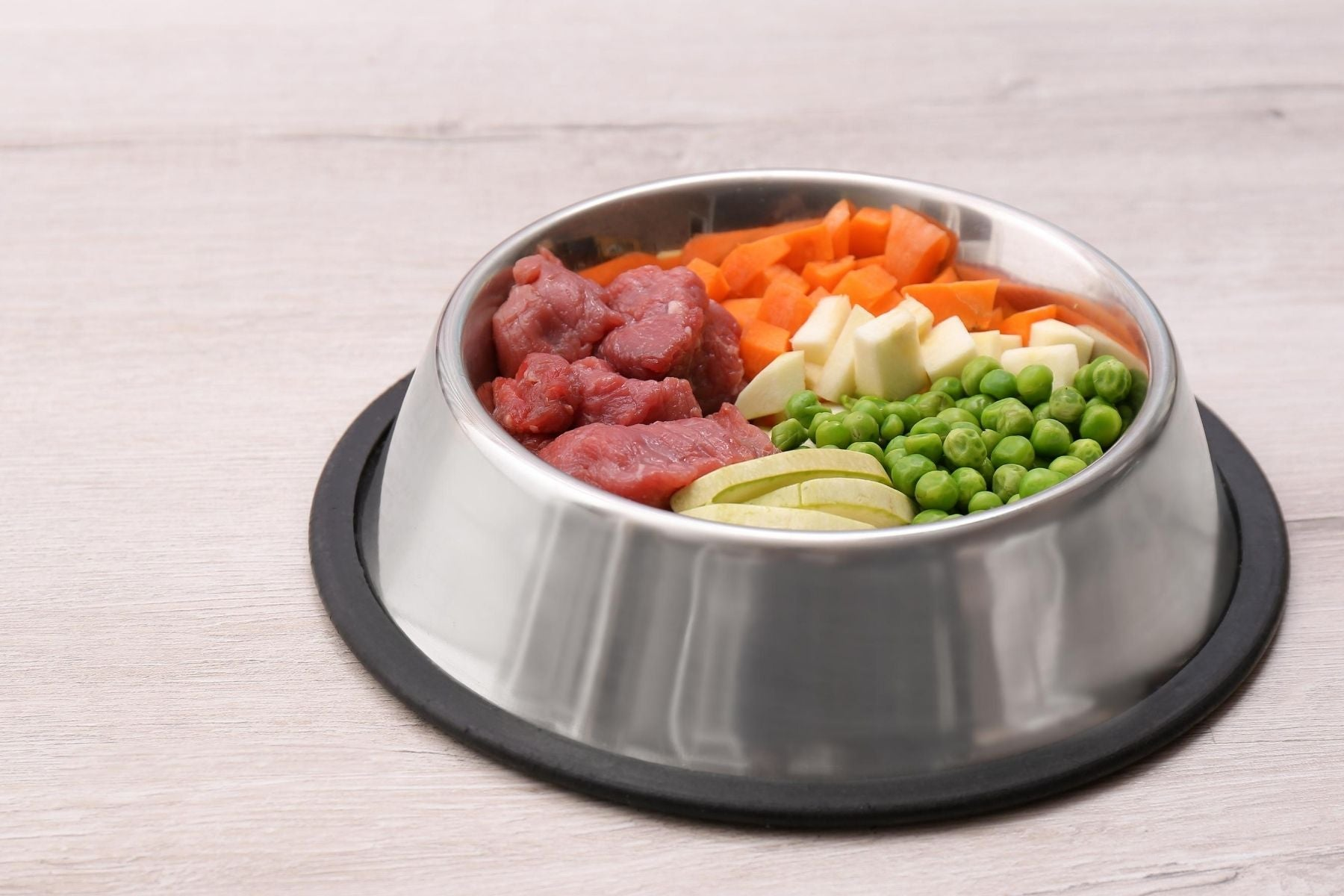 Meat and vegetables for homemade dog food dinner wellbeing for dogs