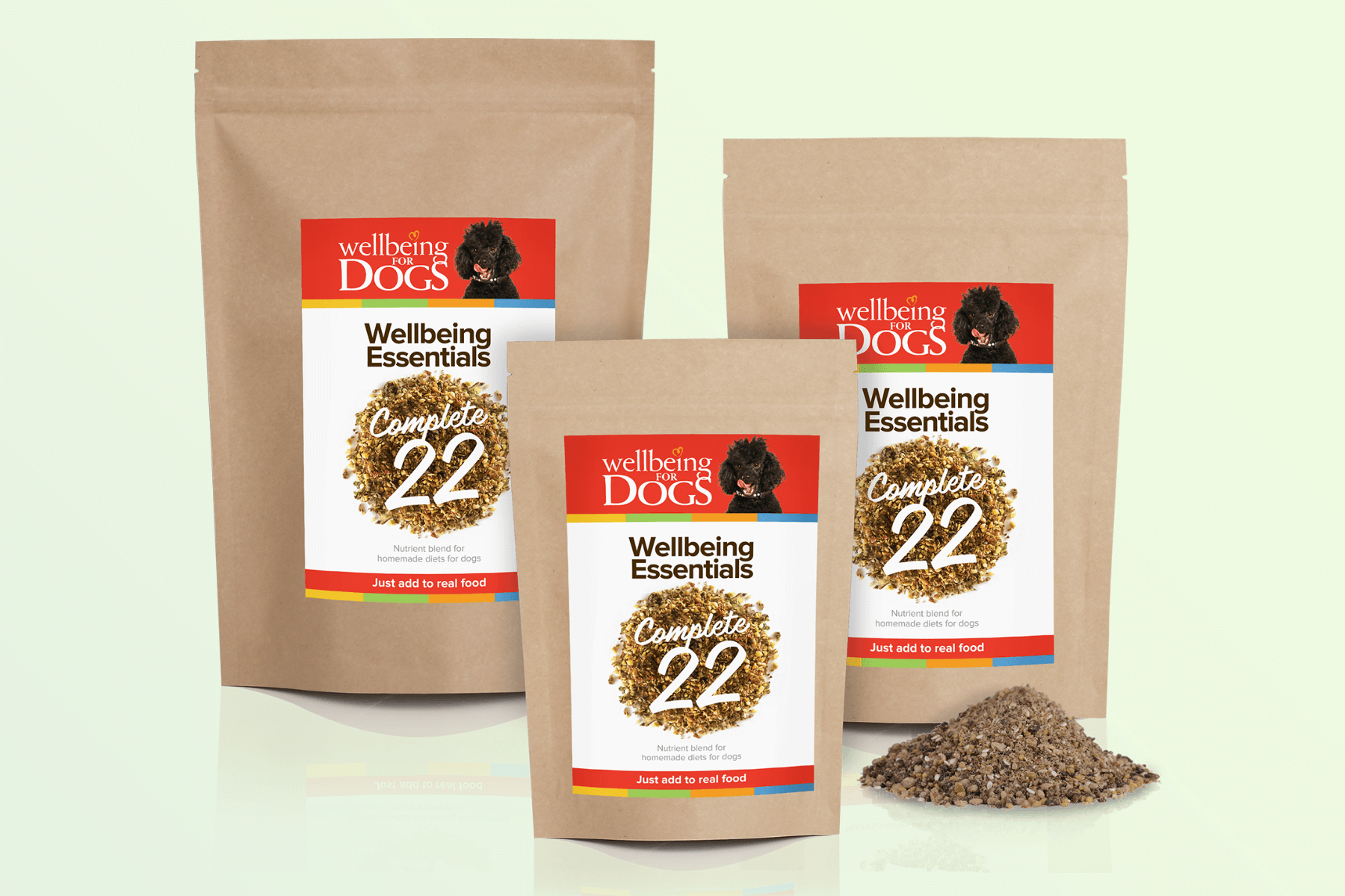 Various pack sizes of Wellbeing Essentials Complete 22 Wellbeing for Dogs