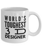 """ World's Toughest 3D Designer "" Gag Gift for Co -Worker, Boss Mom or Dad   11oz Coffee Mug - Ribbon Canyon"