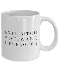 Funny Software Developer Quote 11Oz Coffee Mug , Evil Bitch Software Developer for Dad, Grandpa, Husband From Son, Daughter, Wife for Coffee & Tea Lovers - Ribbon Canyon