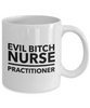 Evil Bitch Nurse Practitioner, 11Oz Coffee Mug Unique Gift Idea for Him, Her, Mom, Dad - Perfect Birthday Gifts for Men or Women / Birthday / Christmas Present - Ribbon Canyon