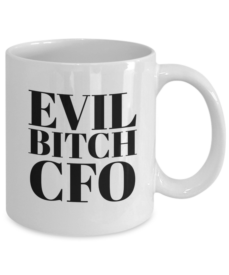 Evil Bitch Cfo, 11Oz Coffee Mug Unique Gift Idea for Him, Her, Mom, Dad - Perfect Birthday Gifts for Men or Women / Birthday / Christmas Present - Ribbon Canyon