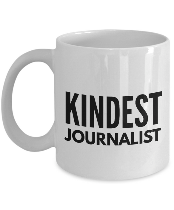 Kindest Journalist - Birthday Retirement or Thank you Gift Idea -   11oz Coffee Mug - Ribbon Canyon