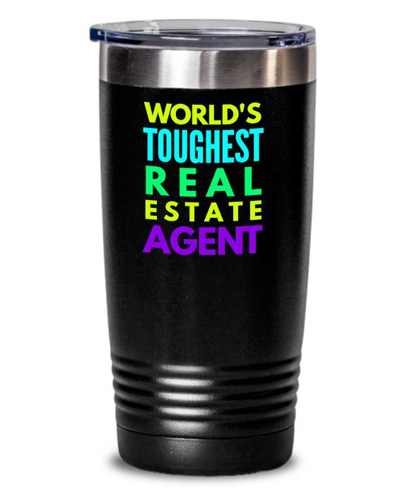 World's Toughest Real Estate Agent Inspiration Quote 20oz. Stainless Tumblers - Ribbon Canyon
