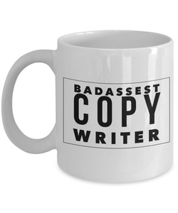 Badassest Copy Writer, 11oz Coffee Mug Gag Gift for Coworker Boss Retirement or Birthday - Ribbon Canyon