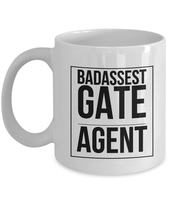 Badassest Gate Agent, 11oz Coffee Mug Gag Gift for Coworker Boss Retirement or Birthday - Ribbon Canyon