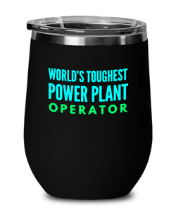 World's Toughest Power Plant Operator Insulated 12oz Stemless Wine Glass - Ribbon Canyon