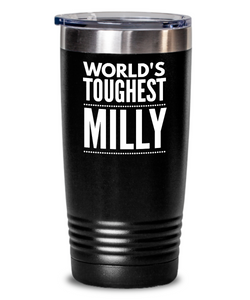#GB Tumbler White NAME 3535 World's Toughest MILLY